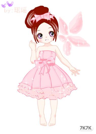 粉色小公主,求花 -涂鸦馆 xjzxhy 手绘作品