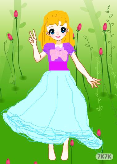 手绘动漫女生鲜花服装