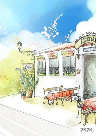 咖啡厅两点透视手绘