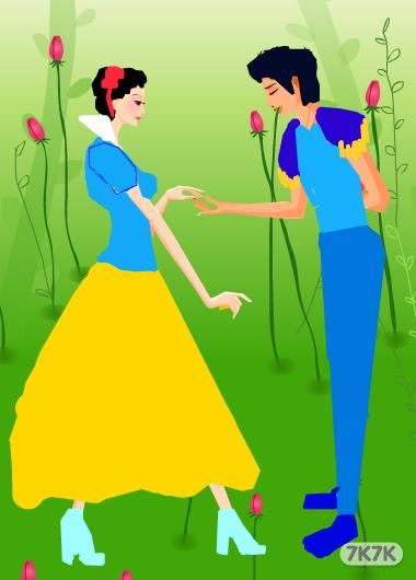 公主和王子簡筆畫內容白雪公主和王子簡筆畫版面