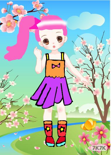桃花风景女孩图