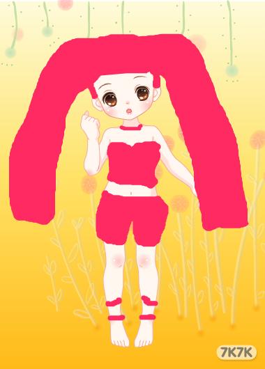 女生头像红色系手绘