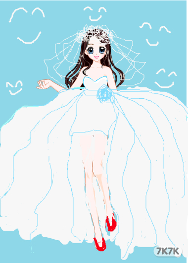 简单手绘动漫新娘图片