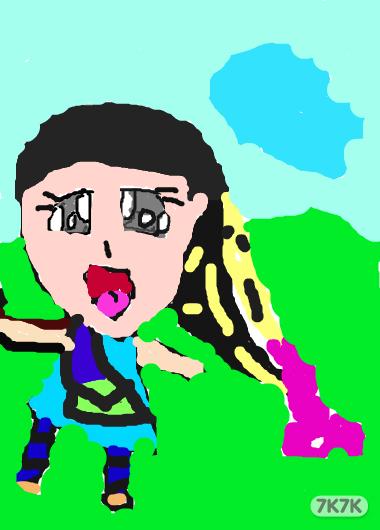 彩虹果-以为彩色辫子的小女孩,这是我在电脑上画得最好的一幅画,食指