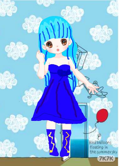 手绘女生蓝色花花头像