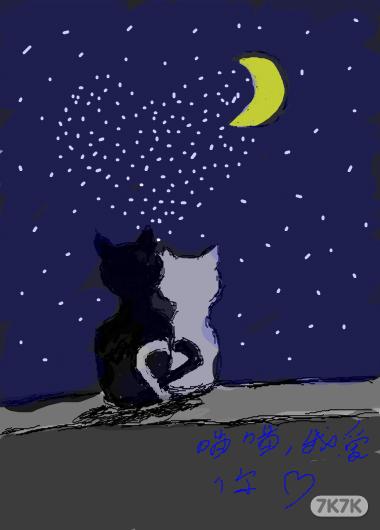 黑猫动漫手绘图片