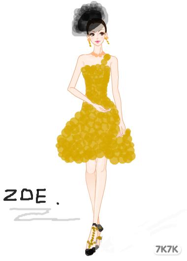 一款金色的短款小礼服