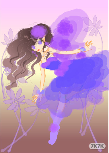 手绘唯美紫色女