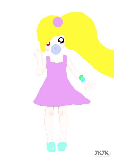 我是小女孩,我要给自己画上长长的辫子图片