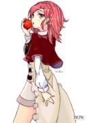 裙子没有质感,而且苹果君成了一坨不明物体。果咩!【临摹】