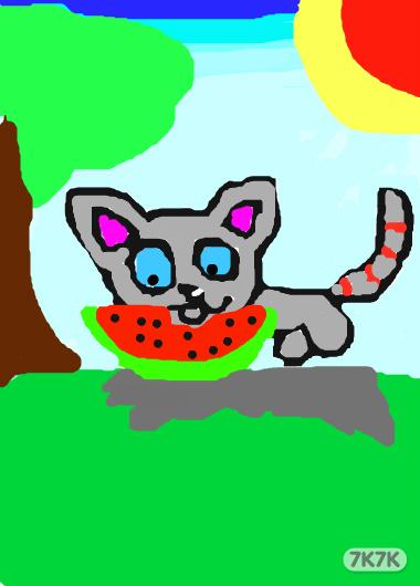 邹奉洁-新手,可爱小猫吃西瓜!