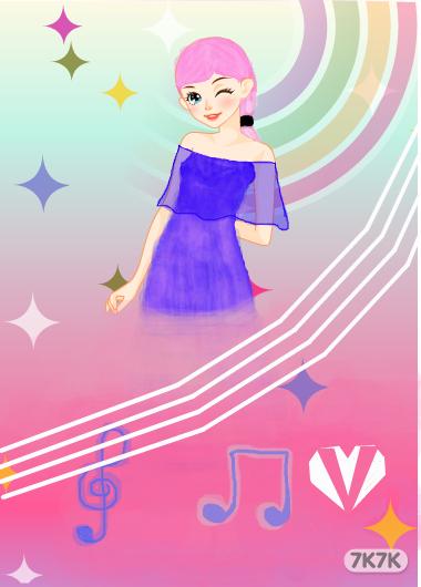 涂鸦馆-带着皇冠装公主-手绘作品