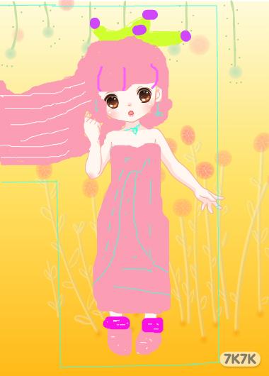 可爱 公主娃娃绘画