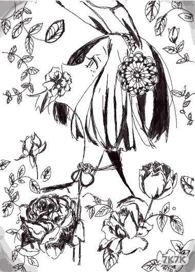榕树手绘黑白图