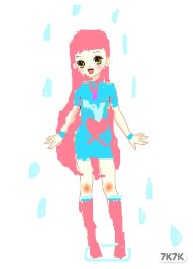 手绘漫画女孩下雨天
