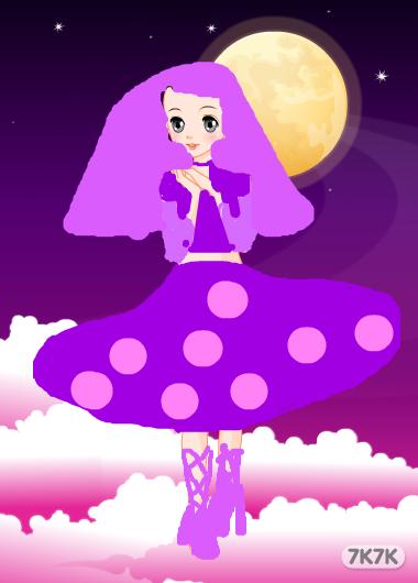 手绘女生微信头像紫色