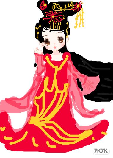 古代新娘服饰手绘