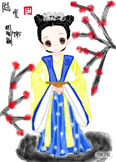 陆贞彩色铅笔手绘