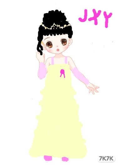 一个卡通女孩穿着婚纱