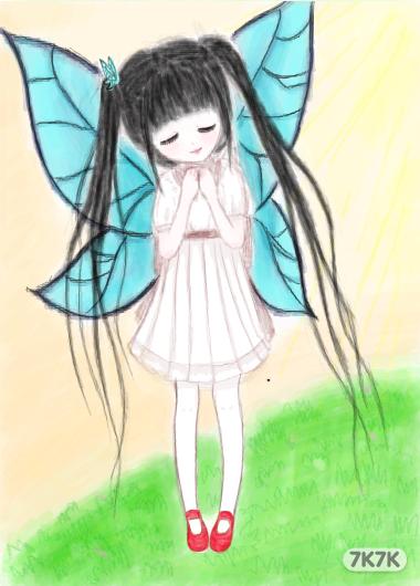 带翅膀的女孩手绘