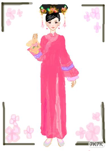 清朝美女手绘全身