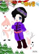小女孩堆雪人