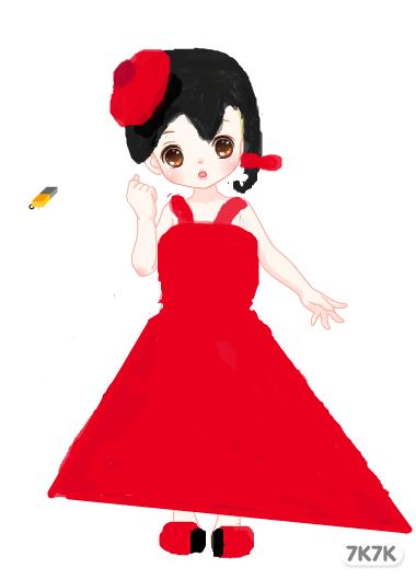 萌萌-红红裙小姑娘