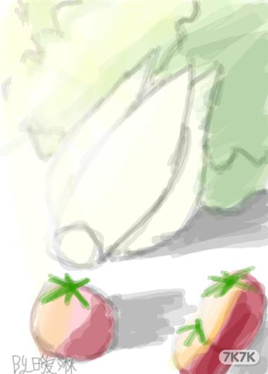 kinglingo-前几天美术老师教我们画的白菜,西红柿.水彩画.画得不好.