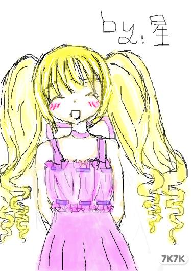 长卷发女生手绘
