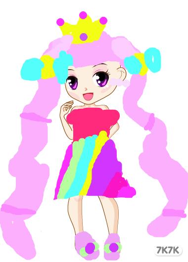 手绘动漫女孩长发公主裙铅笔画
