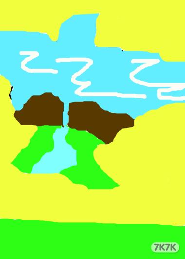 春景图片手绘彩色