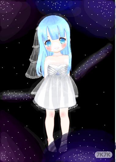 星空晚礼服手绘设计图