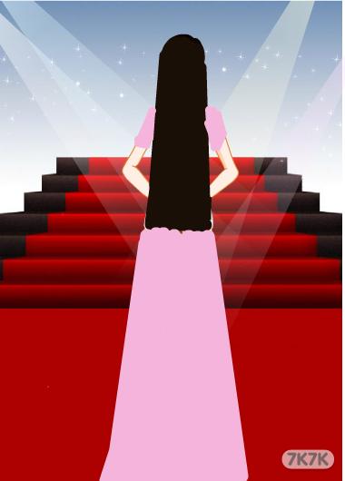 红色婚纱背影手绘
