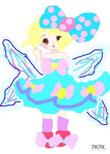 带翅膀跳舞的女孩手绘